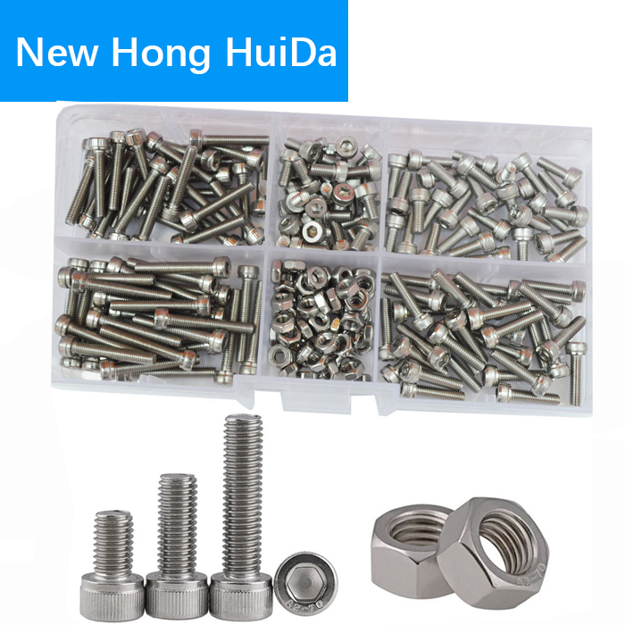 M3 Hex Flat Socket Head Cap Screw Metric Threaded Hexagon Allen Head Bolts Nut Assortment Kit Set Box 210Pcs 304Stainless Steel