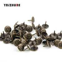 100pcs Antique Brass Upholstery Nail Jewelry Gift Wine Case Box Sofa Decorative Tack Stud Pushpin Doornail Hardware