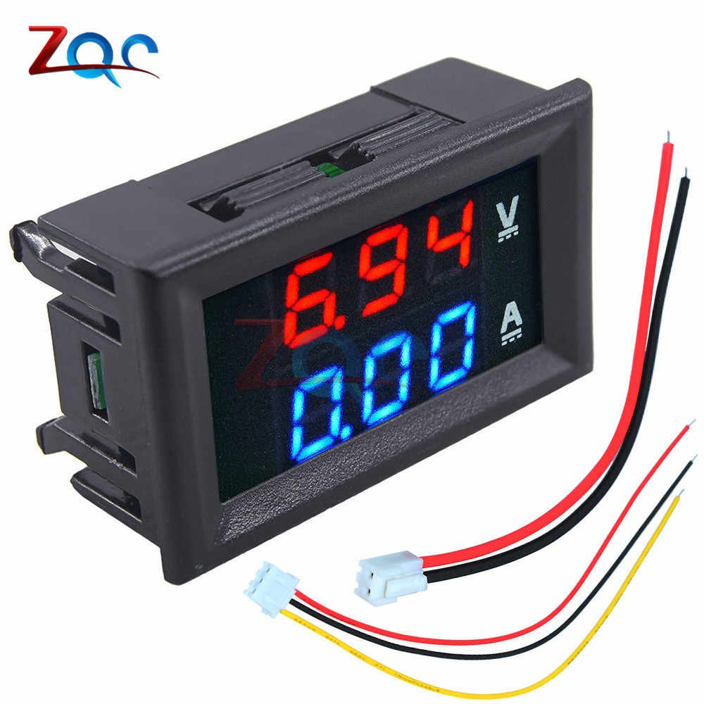 0.56 inch Mini Digitale Voltmeter Ampèremeter DC 100V 10A Panel Amp Volt Voltage Current Meter Tester Blauw Rood Dual LED Display