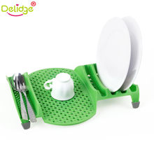 Delidge 1 pc Green Dish Drain Rack Plastic Single Layer Bowl Drain Rack Kitchen Cutlery Drainer Drying Holder Dish Sink Rack(China)