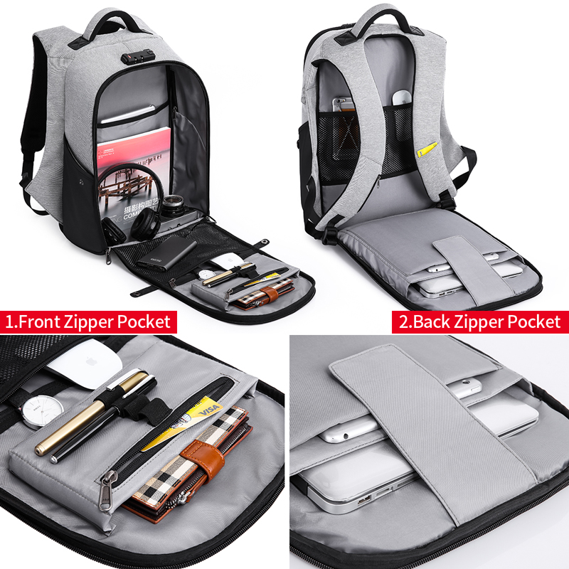 "Kaka Men Anti Theft Backpack 15.6"" Laptop Backpacks Teenage Backpack Schoolbag Male Women Mochila Water Repellent Large Capacity #4"