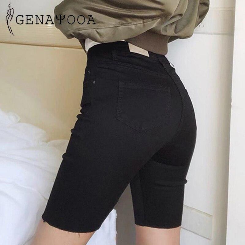 Genayooa Knee Length Denim Shorts Women Push Up Elastic High Waist Biker Shorts Jean Shorts Women Summer 2019 Black Streetwear