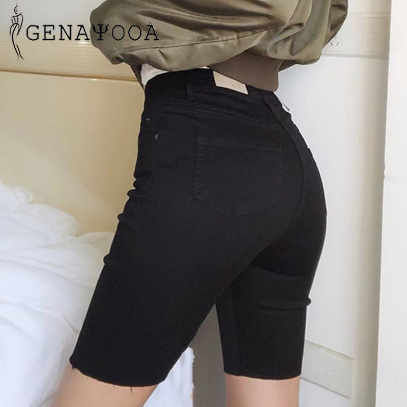 Genayooa Knee Length Denim   Shorts   Women Push Up Elastic High Waist Biker   Shorts   Jean   Shorts   Women Summer 2019 Black Streetwear