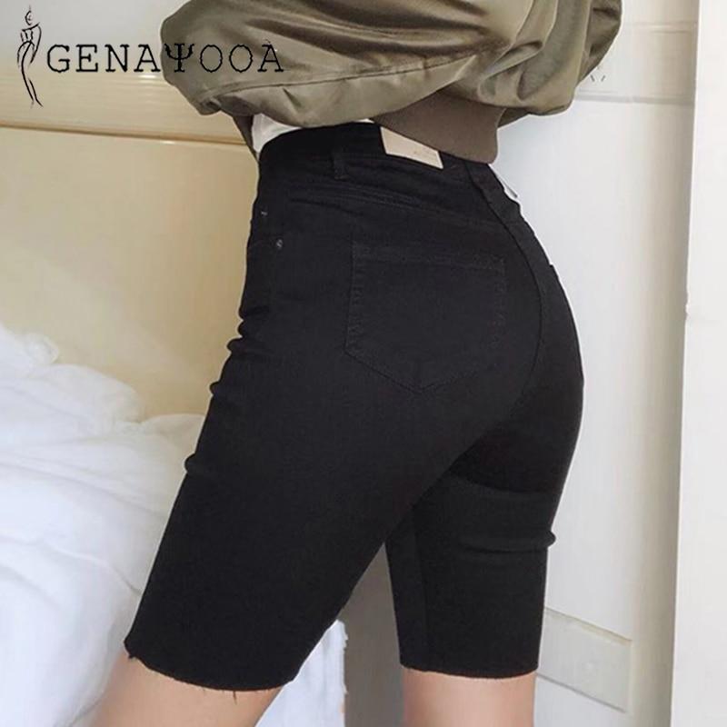>Genayooa Knee Length Denim <font><b>Shorts</b></font> Women Push Up Elastic High Waist <font><b>Biker</b></font> <font><b>Shorts</b></font> Jean <font><b>Shorts</b></font> Women <font><b>Summer</b></font> 2019 Black Streetwear