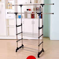 Stainless Steel Portable Dual Bars Adjustable Double Pole Clothes Coat Garment Dryer Rack Rail Hanging Hanger Shoe Storage Shelf