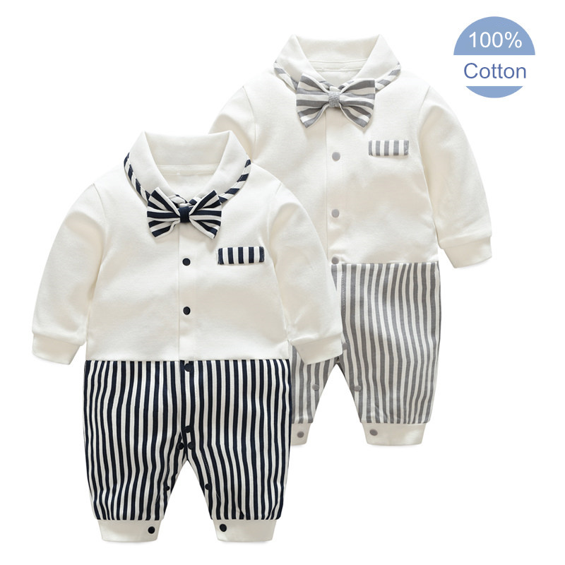 16fa213daedf Baby Rompers Cotton Bow Tie Gentleman Party Clothing Spring Toddler ...