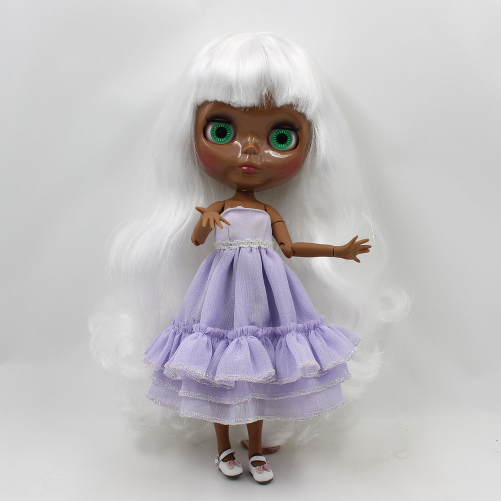 Neo Blythe Doll with White Hair, Black skin, Shiny Face & Jointed Body 1