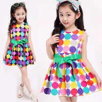 Novas crianças roupas de verão meninas vestido de bolinhas roupas bebê sem mangas vestido casual com arco vestido de princesa meninas
