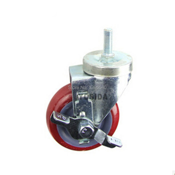 New 4'' PU Swivel Wheel Caster Industrial Castor Brake Double Univeral Wheel With Bearing Brake Rolling Medical Casters Wheels