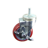 New 4 PU Swivel Wheel Caster Industrial Castor Brake Double Univeral Wheel With Bearing Brake Rolling