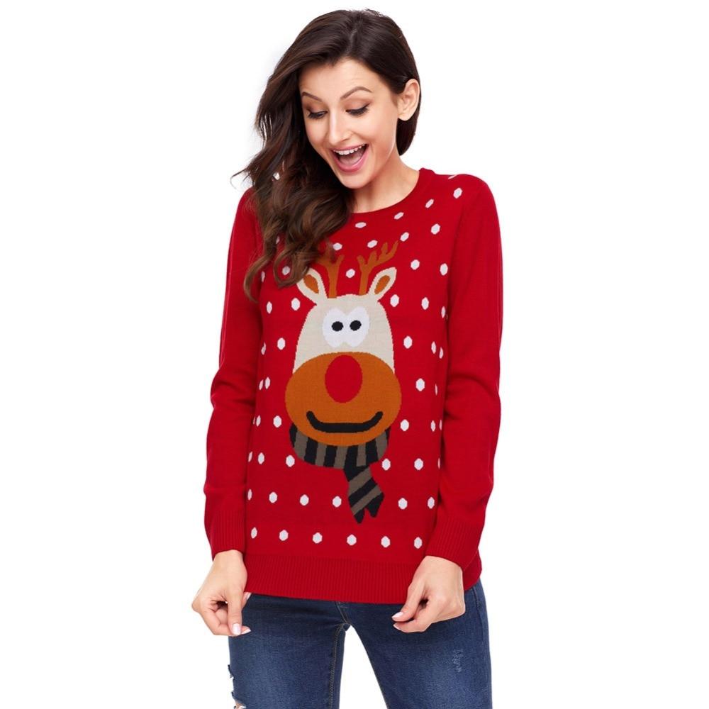 ①  Рождественский свитер Женщины рождественские подарки с длинным рукавом оленей Рождественский свитер  ✔
