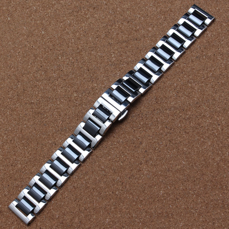 16mm 18mm 20mm Black Watchband high quality Watches Bracelet Ceramic Watchbands stainless steel buckle silver metal deploy