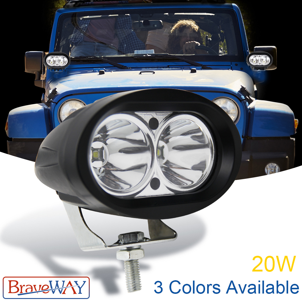 BraveWay 3 6 inch Flood Spot Led Work Light Waterproof Offroad Truck Car LED Work Light 12V LED Extra Light for ATV Motorcycle in Light Bar Work Light from Automobiles Motorcycles