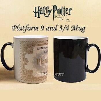 Drop shipping! Light Magic Changing Color coffee Tea Cups Mug Platform 9 and 34 train ticket mugs harry potter mug marauders map