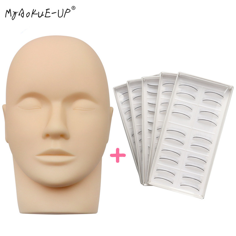 Eye Facial Make-up Practice Training Lashes for Eyelash Extensions Mannequin Head Flat with Practice Lashes