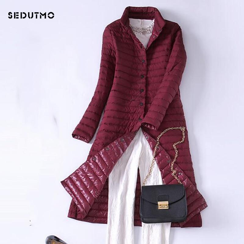 SEDUTMO 2018 Spring Long Ultra Light Womens Down Jackets Winter Duck Down Coat Oversize Puffer Jacket Slim Black Parkas ED321