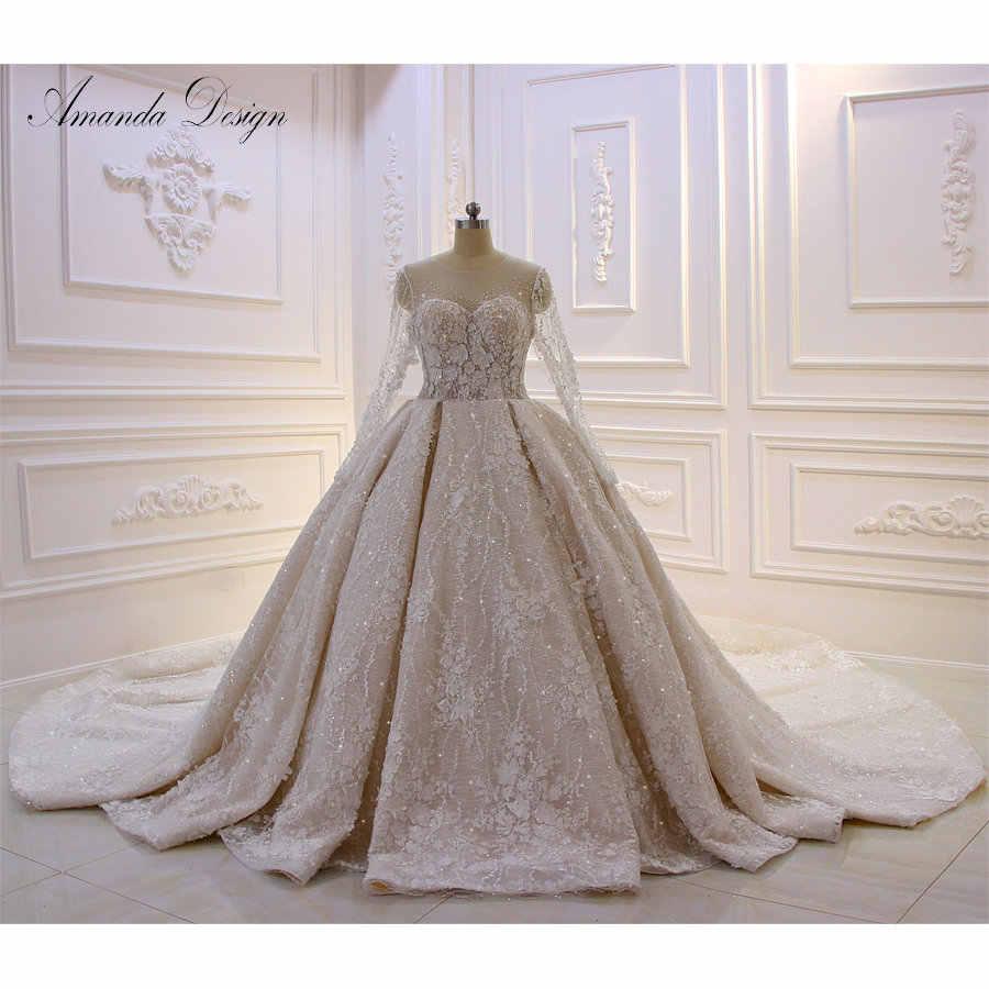 Amanda Design 2019 New Collection Long Sleeve Lace Applique Rhinestone  Crystal Flowers Wedding Dress Luxury| | - AliExpress