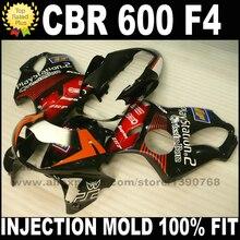 Литья под давлением комплекты для HONDA CBR 600 F4 зализах 1999 2000 CBR600 99 00 черный красный набор зализа пластиковые детали Y1