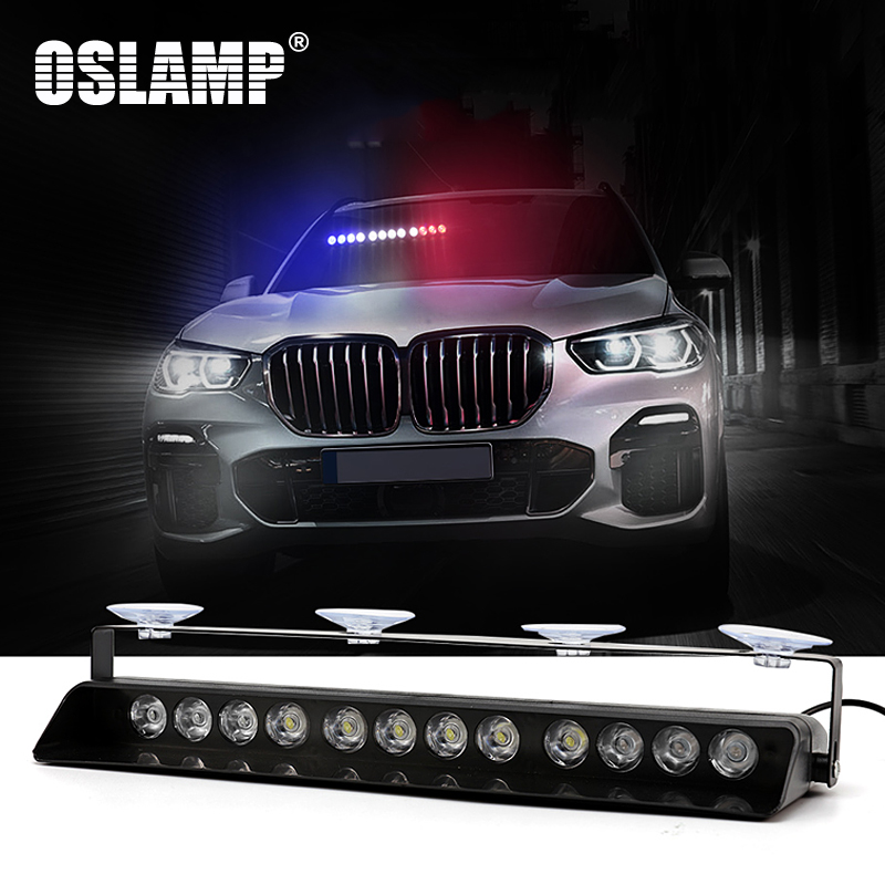 Oslamp LED Auto Warning Light Red+White+Blue Amber+White 14 Flash Mode Car/SUV LED Strobe Light Foggy Rainy Snowy Emergency Lamp luces led de policía