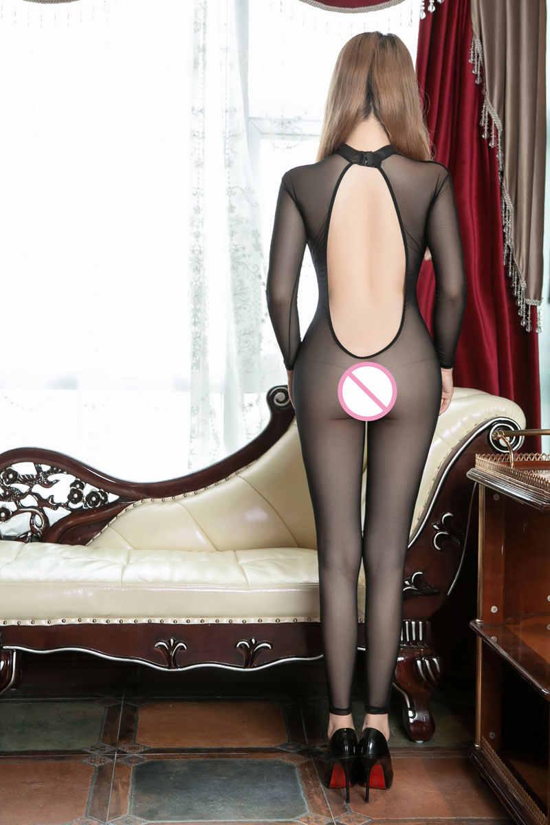 Сексуальное женское Сетчатое прозрачное боди с открытой спиной комбинезон с вырезами Сексуальная облегающая танцевальная одежда Эротическое белье гимнастический купальник F27