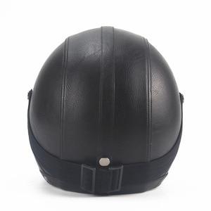 Image 2 - Leather  Helmets 3/4 Motorcycle Chopper Bike helmet open face vintage motorcycle helmet  motocross