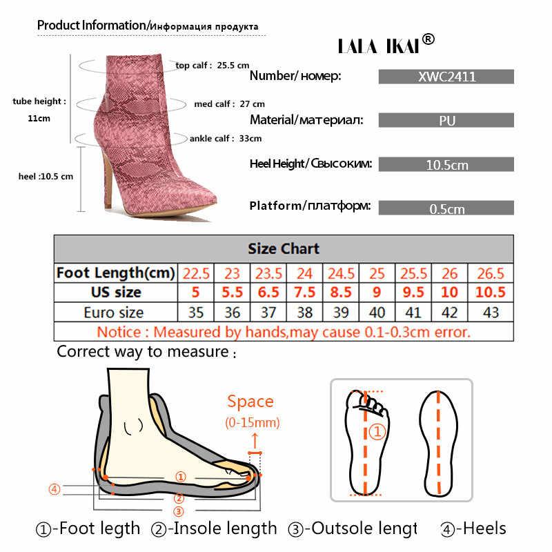 LALA IKAI Kadınlar Yüksek Topuklu yarım çizmeler Fermuar Yılan Sivri Burun PU Deri Ince Topuk Ayakkabı Kadın Kışlık Botlar 014C2411- 4