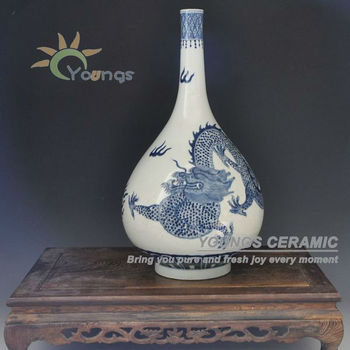 Antique style porcelain dragon vase with Qing KangXi Mark for collection