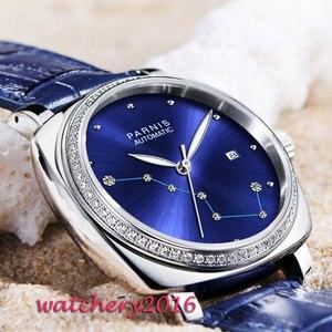 Image 5 - Люксовый бренд 39 мм Parnis с синим циферблатом сапфировое стекло Дамский кожаный ремешок для даты женские Автоматические Мужские часы