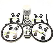 60PCS/LOT 20 PEOPLE USE PANDA PARTY SET THEME DISPOSABLE PLATES NAPKINS CUPS PAPER DISHES