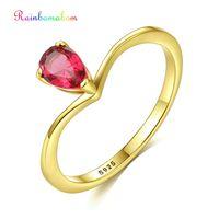 Rainbamabom 925 Solid Sterling Silver Ruby Pink Sapphire Gemstone Wedding Engagement Yellow Gold Ring Fine Jewelry Wholesale