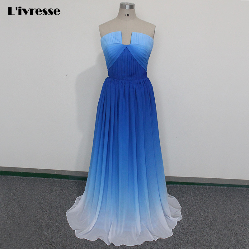 2017 New Strapless Off The Shoulder A-Line Chiffon Ombre Blue Party Evening Dress For Woman With Train Vestidos De Noche Largos