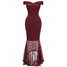 Party dress female 2019 summer new banquet noble elegant sexy word collar fishtail long ladies dress 2019 ladies flower dress noble and elegant