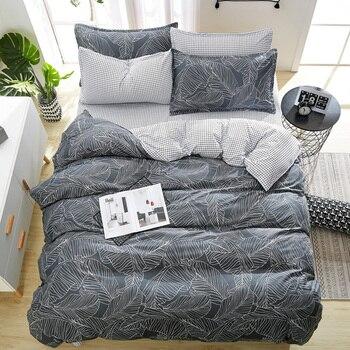 PAPA & MIMA Модные постельные комплекты, серые листья, черно-белая клетчатая простыня, наволочка, пододеяльник, комплекты постельного белья
