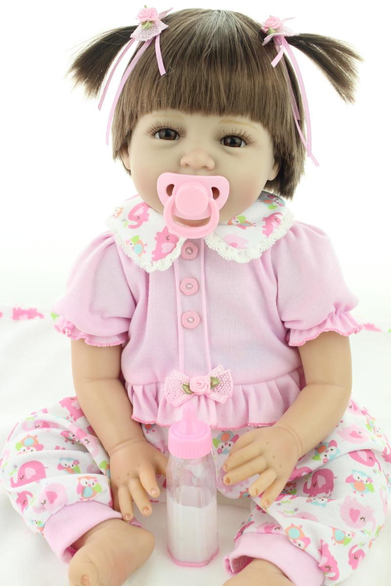22inch 55cm Reborn Dolls Babies Soft Silicone Lifelike Smile Girl Gift for Children Pink Dress Lovely Princess Doll for Children 55cm smile silicone reborn babies doll alive toys girls cute lifelike for children present