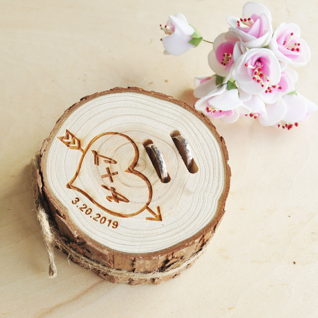 58590e856c5e1 US $12.99  Personalized Rustic Wedding Wood Ring Box Engagement Ring Box  Jewelry Gift Wooden Ring Holder Wedding Decor-in Jewelry Packaging &  Display ...