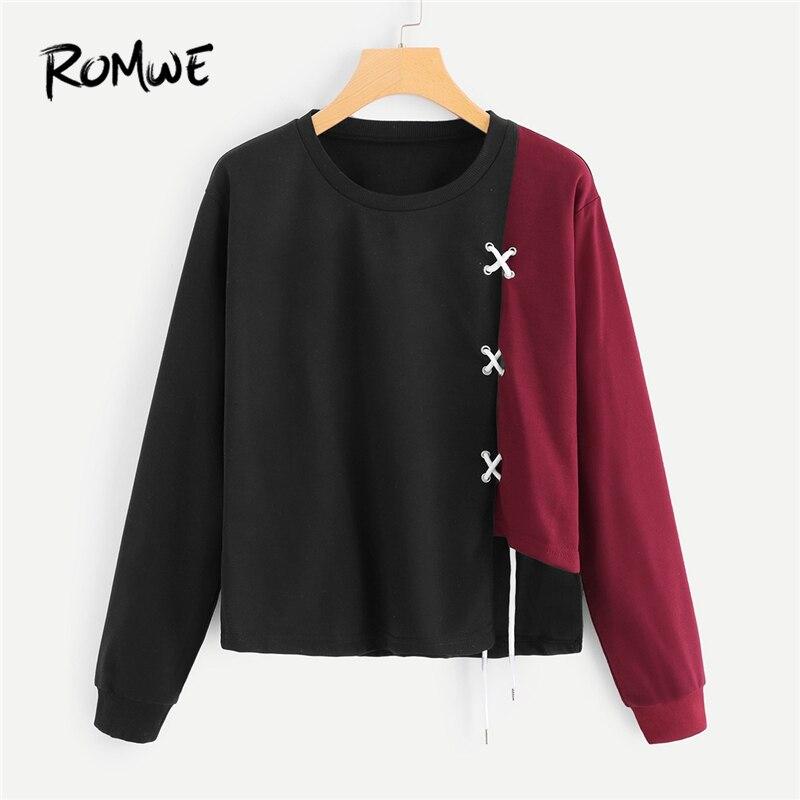 7a3c5dbe76 Cheap ROMWE negro de cortar y coser Sudadera Mujer Casual primavera otoño  ropa Tops cuello redondo