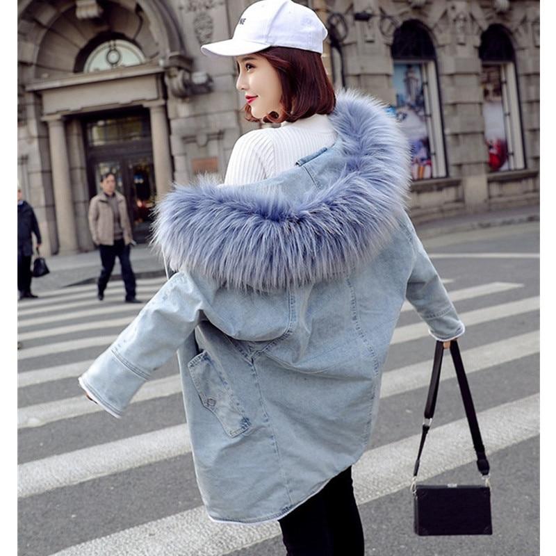 Outwear Veste Chaud En Denim Poches Large De D'agneau Jeans