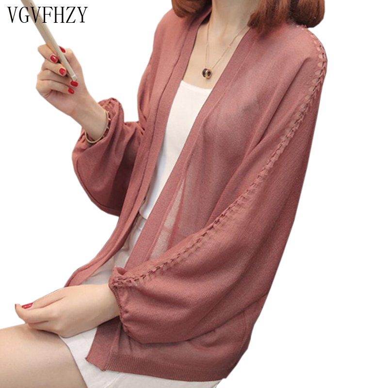 2018 Spring autumn sweater cardigan dress sunscreen shawl thin coat a long sleeved sweater sweater girl summer air conditioning