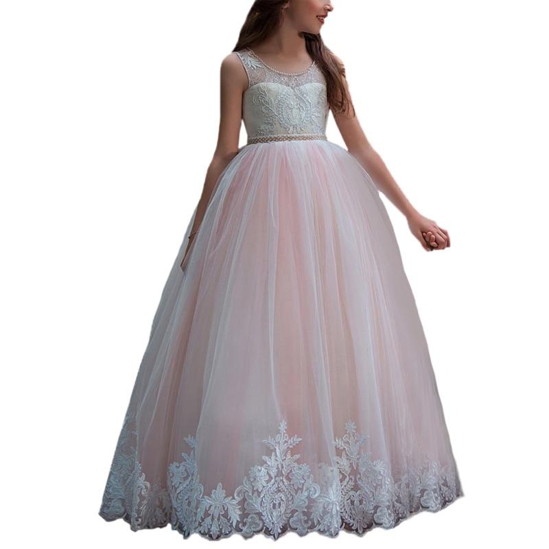 Abaowedding rose maille fleur robe pour filles es robe de primera étage longueur ballon pour enfants robe robe pour les filles petite robe pour filles