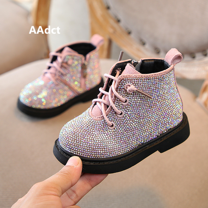 Image 4 - AAdct Cotton warm crystal little girls boots Non slip shinning baby boots 2019 Winter princess baby shoes soft sole 1 3 years-in Boots from Mother & Kids