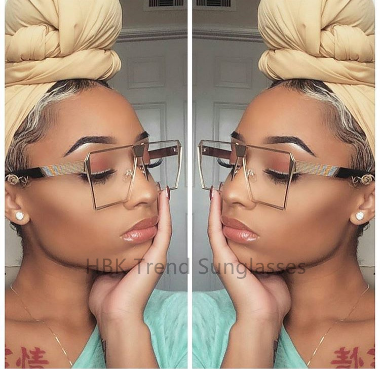 Luxury Square Sunglasses Men Women Flat Top Mirror Sun Glasses Lady Eyewear Metal Large Oversized Transparent