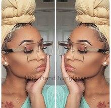 HBK 2017 Trends Women Square Sunglasses UV400 Clear Sunglass Brand Designer Unisex Sun Glasses Hexagon Metal Frame Men Shades