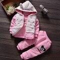 2016 девушки зимней одежды толстые теплые 3 шт. набор утолщаются пальто ватки бархат принцесса девушки зимняя куртка + брюки + жилет с капюшоном мышь