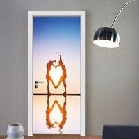 الباب الشارات البحر الشمس حلوة القلب 3d ملصقات الحائط رومانسية الحب ديكور المنزل ملصق ل غرف زوجين عاشق باب الديكور