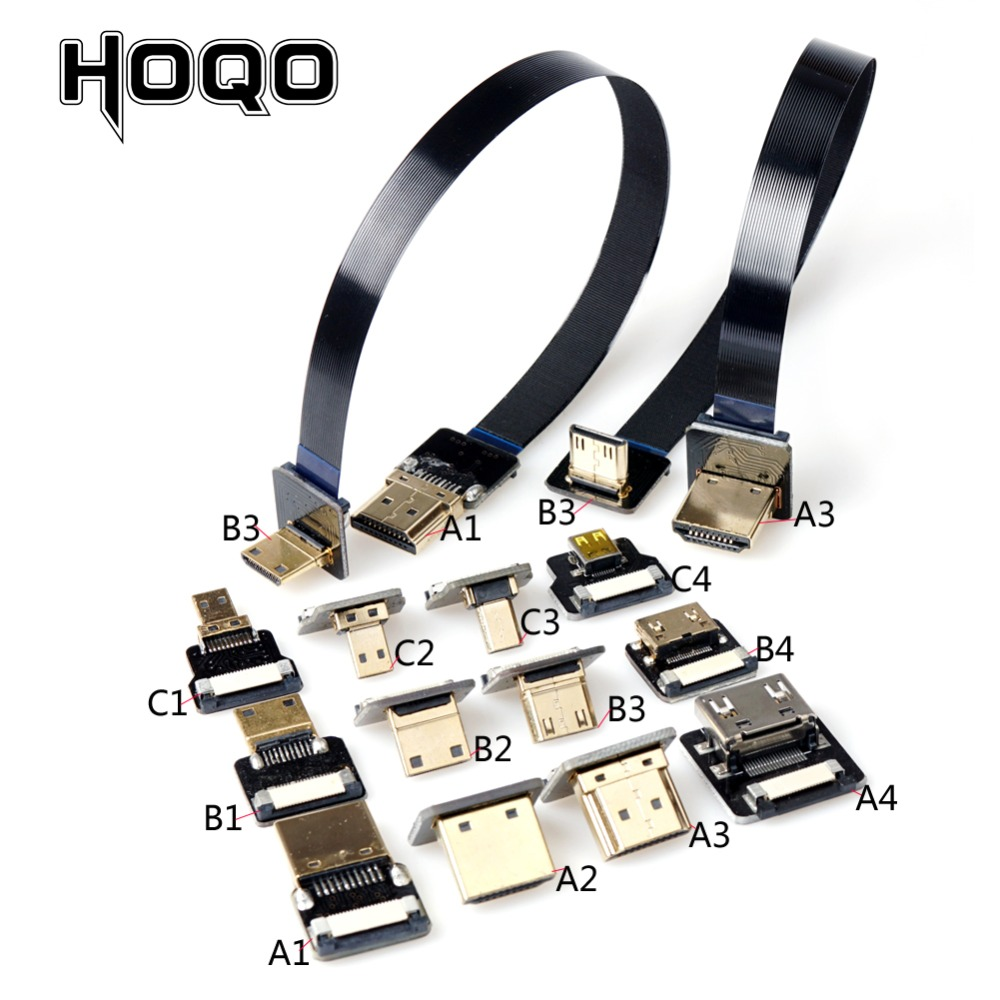 FPV HDMI Ribbon Cable Up Angled 90 Degree Micro HDMI To MiniHDMI Male FPC Flat Ffc Hdmi Cord For Multicopter Aerial Photography