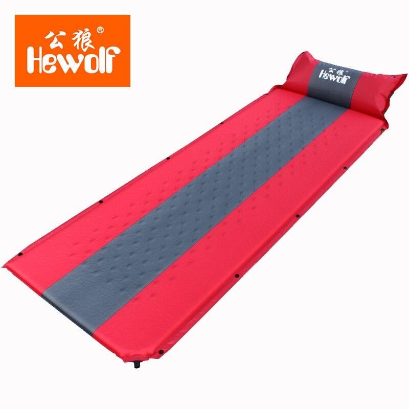 Hewolf mémoire éponge Camping tapis avec oreiller Portable tapis de plage auto-gonflant étanche à l'humidité pique-nique matelas