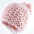 2017 Dulce y lindo gorros mujeres gorro de Invierno para las mujeres tejer gorro de lana del crudo lana Mantener caliente Lovely girls gorros
