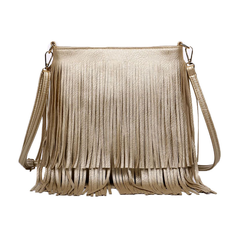 New Fashion Comfortable PU Golden Tassel Women Fringe Bag Women Messenger Bags Upscale Lining Shoulder Bags