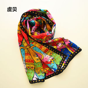 Image 4 - Colorful cats long scarf women sunscreen soft thin printed natural silk scarves wrap shawl foulard femme bandana gift for ladies