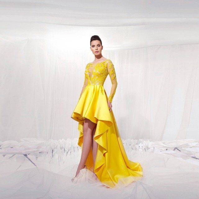 Elegant Yellow High Low Prom Dresses 2017 Plus Size Long Sleeve Lace ...